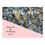Save the date Pink Pebbles Wedding Postcard