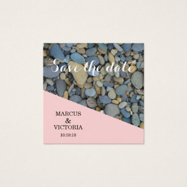 Beach Themed Save the date Pink Pebbles Wedding Square Business Card