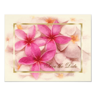 Save the Date Pink Plumeria Personalized Announcements