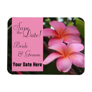 Save the Date Pink Plumeria Magnet