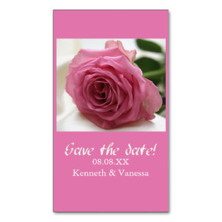Save the Date pink rose Business Card Magnet