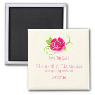 Save The Date Pink Rose Drawing Magnet