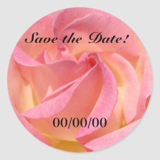 Save the Date! Pink Rose Flower seals Weddings