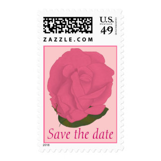 Save the date, pink rose green leaf wedding stamps