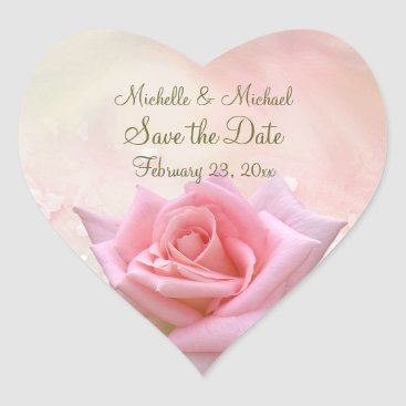 Valentines Themed Save the Date Pink Rose Heart Sticker
