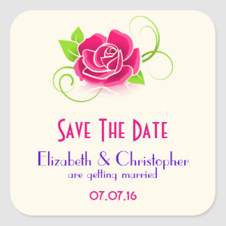Save The Date Pink Rose Illustration Square Sticker