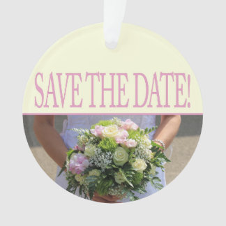 Save the Date pink rose Ornament