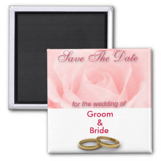 Save The Date Pink Rose & Wedding Rings Magnet