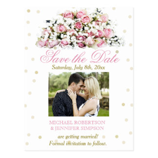 Save the Date Pink Roses and Baby's Breath Postcard