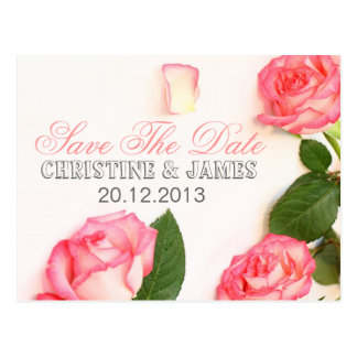 Save the date, pink roses romantic card postcard