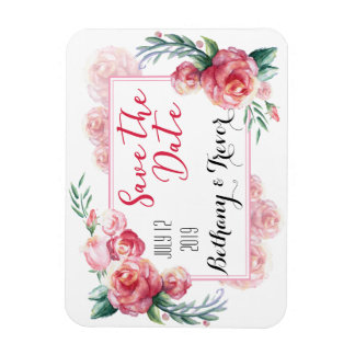 Save The Date Pink Roses Watercolor Magnet