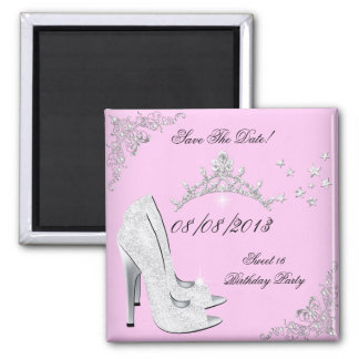 Save The Date Pink Silver High Heels Shoes Tiara Magnet