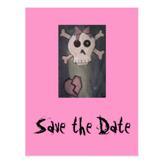 Save the Date Pink Skull Invitations