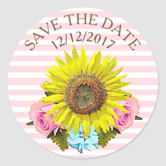 Save the Date Pink Stripe Sunflower Stickers