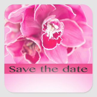 Save The Date  Pink Tiger Orchids Square Stickers