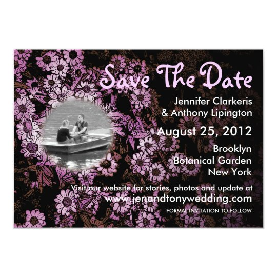 Save The Date Pink Vintage Flowers Invitation