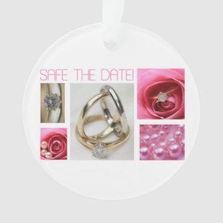 Save the Date Pink Wedding Collage Ornament