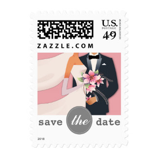 Save the Date. Pink, White & Grey Wedding Postage