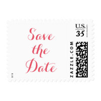 Save the Date Plain Wedding Postcard Postage Stamp