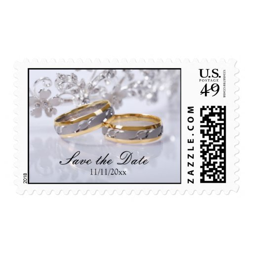 Save the Date Platinum & Gold Wedding Band Postage