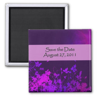 Save the Date ..Plum 2 Inch Square Magnet