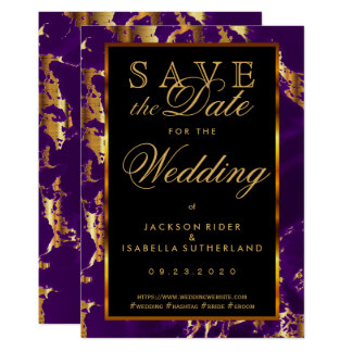 Save the Date Plum Purple and Gold Marble 2 Card