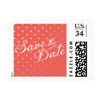 Save the Date Polka Dots Faux Gold Coral Pink Postage Stamp