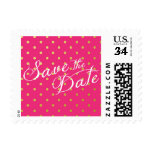 Save the Date Polka Dots Faux Gold Hot Pink Postage Stamp