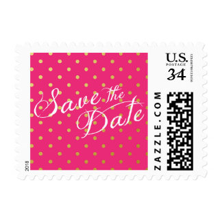 Save the Date Polka Dots Faux Gold Hot Pink Postage