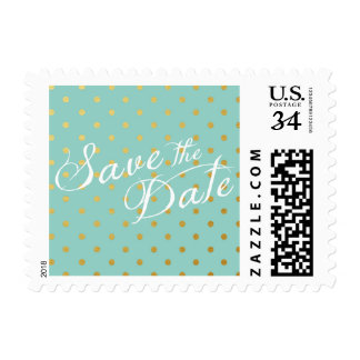Save the Date Polka Dots Faux Gold Mint Blue Postage Stamp