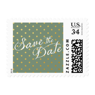 Save the Date Polka Dots Faux Gold Moss Green Postage