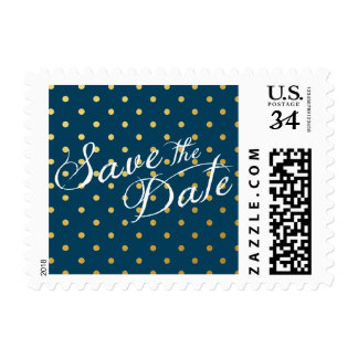 Save the Date Polka Dots Faux Gold Navy Blue Postage