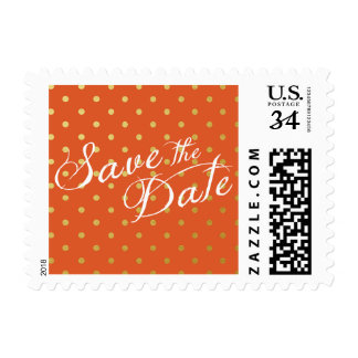 Save the Date Polka Dots Faux Gold Orange Postage