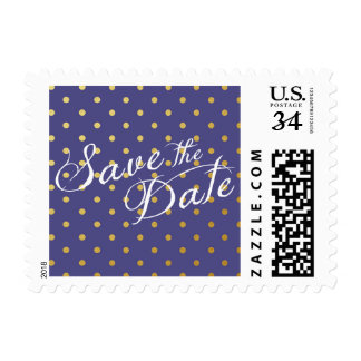 Save the Date Polka Dots Faux Gold Purple Postage