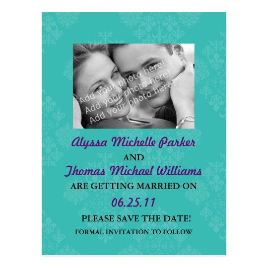 Save The Date Post Card with Your Photo (Teal)