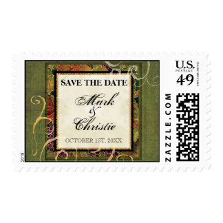 Save the Date Postage Autumn Grape Leaf