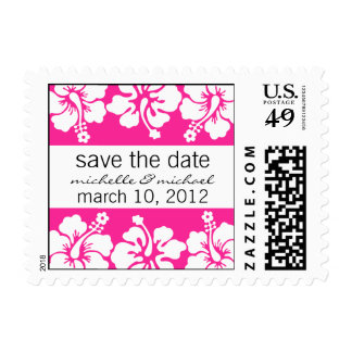 Save The Date Postage Hibiscus Dark Pink