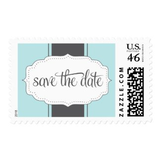 Save the Date Postage in Blue and Gray stamp