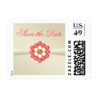 Save the Date Postage Ivory, Pearls & Ruby Gems