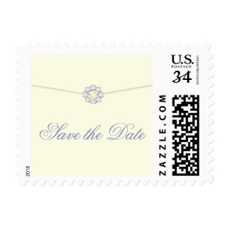 Save the Date Postage Ivory with Pearl & Diamond