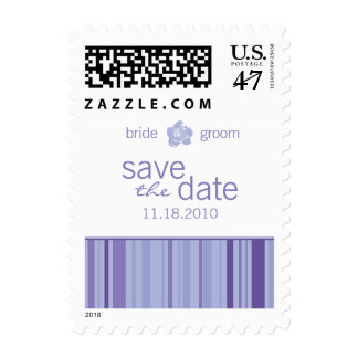 Save The Date Postage-Modern Stripes (Lavender) Postage Stamp
