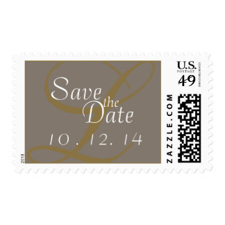 Save the Date Postage Monogram Gold Silver