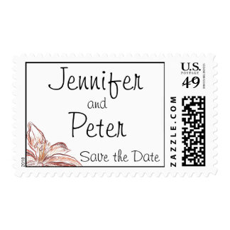 SAVE THE DATE POSTAGE Orange Flowers