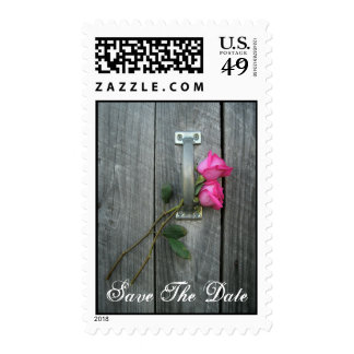 Save the Date Postage Stamp - Barn Door & Roses
