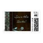 Save the Date Postage Stamp damask blue Flower