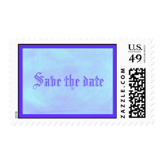Save the date postage stamps, Blue on blended blue