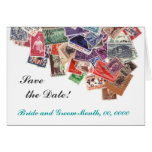 Save the date postage stamps card
