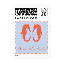 Save the Date Postage with Seahorses