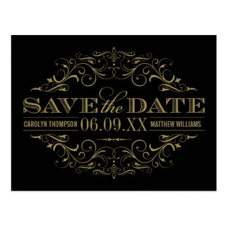 Save the Date Postcard | Antique Gold Flourish