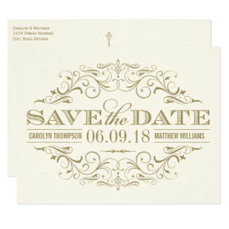Save the Date Postcard | Antique Gold Flourish